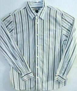 Urban-Up-Pipeline-Mens-Size-L-Long-Sleeve-Button-Front-Striped-100-Cotton-Shirt