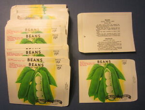 Wholesale Lot of 100 Old Vintage 1960/'s Bush Small LIMA BEANS SEED PACKETS EMPTY