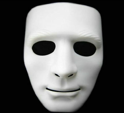 White Hip Hop Masks Plastic Halloween Masquerade Party Mask Costume Accessory