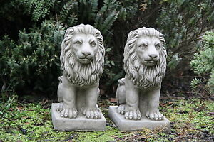 Image Is Loading PAIR PROUD LIONS Stone Small Garden Ornaments Lions