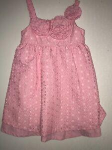 Iris & Ivy Girls Pink Eyelet Sun Dress Sleeveless Size 4T Summer Flowers Easter