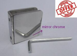SHOWER SCREEN SHOWERSCREEN CHROME 304 STAINLESS GLASS CLAMP CLIP BRACKET 3mm