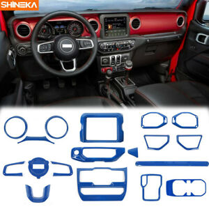 Blue Interior Full Center Cover Trim Accessories kits For Jeep Wrangler JL 2018+
