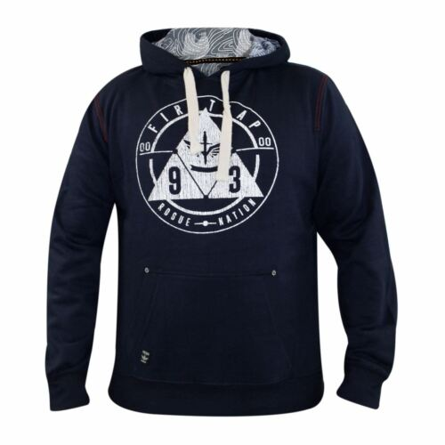 Mens Designer Firetrap Pullover Print Hoodie Top Lined Hooded Sweat Shirt