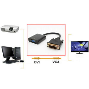 Black-Pro-DVI-D-24-1-Pin-Male-to-VGA-15-Pin-Female-Cable-Converter-Connector