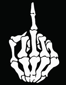 Skeleton Middle Finger Skull Funny Vinyl Decal Car Truck Window Sticker FCK JDM