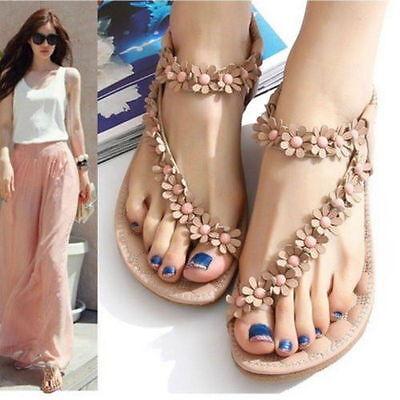 Women Summer Bohemia Floral Flat Shoes Beach Sandals Thong Slippers Flip Flops