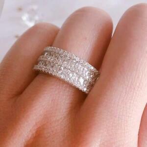 4-Ct-Round-Cut-VVS1-Diamond-Wedding-Engagement-Band-Ring-14k-White-Gold-Finish