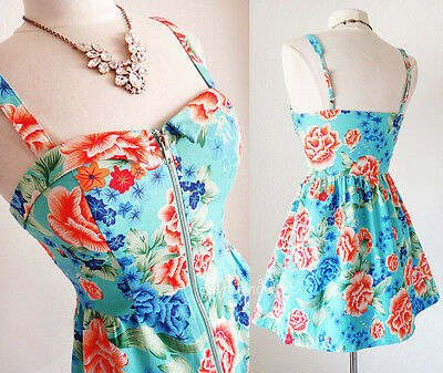 NEW Aqua Blue Vibrant Tropical Floral Expozed Zipper Resort CUTE Casual Dress