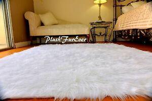 5x7 White White Faux Fur Rectangle Sheepskin Flokati