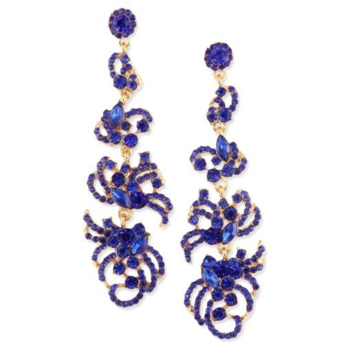 Glamour Blall Hochzeit Lange Ohrringe Kristall Blau Royal Königsblau 9 cm Lang