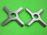 Two Hex Center Moulinex Rival Krups Meat Grinder Knife Blade Stainless Steel