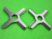 Two Hex Center Fits Many Moulinex Rival Meat Grinder Knife Stainless Steel