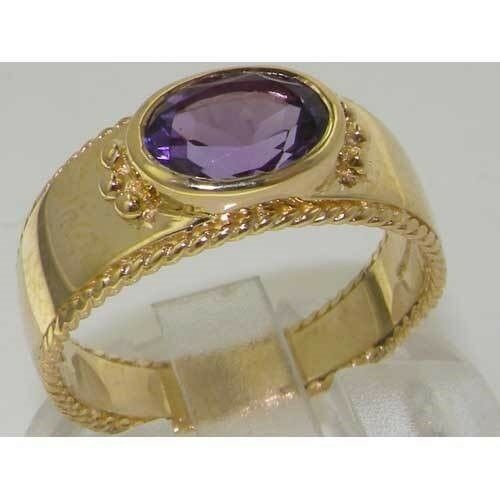 9ct Yellow gold Amethyst English Solitaire Wedding  Ring with Milgrain Edging