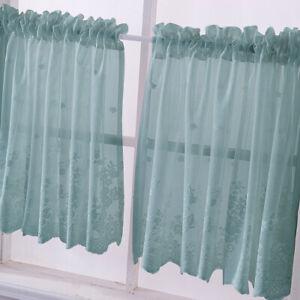 Dettagli su Tenda Voile per finestra per tende da cucina in pizzo ricamato  con 1