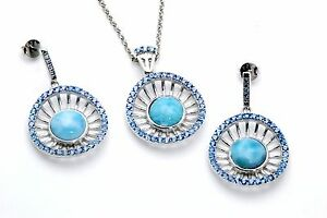 Larimar-Wagon-Wheel-Earring-and-Necklace-Set-925-Sterling-Silver