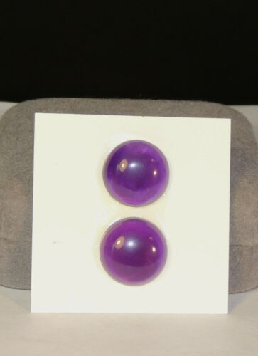 4346 Amethyst pair of 15mm round Cabochons from Brazil 5-6mm thick