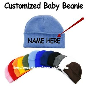 48d87911a2b Image is loading Personalized-Engraving-name-Baby-Beanie-Hats -Customized-Make-