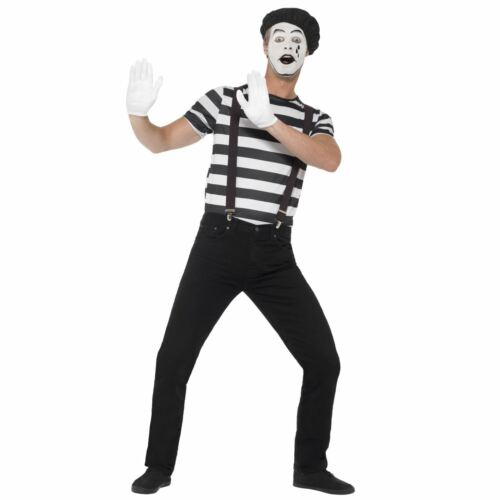 Adults French Mime Artist Street Performer Circus Carnival Fancy Dress Costume