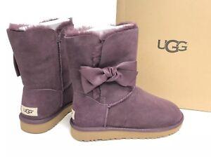 dde1b4fd8e4 Details about UGG Australia Women's DAELYNN Port 1019983 Sheepskin Suede  Bow Ankle Boots