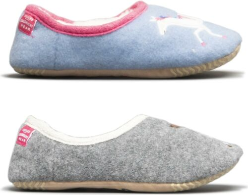 Joules SLIPPET Girls Carousel Unicorn//Grey Dog Cosy Warm Novelty Mule Slippers