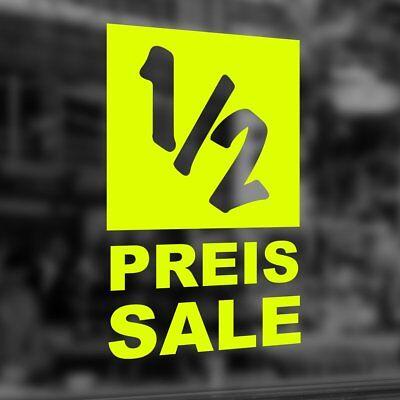 "Aufkleber Folie ""1/2 Preis Sale"" % Rabatt Schaufenster Beschriftung #8028 GroßEr Ausverkauf"