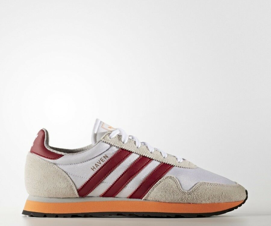 Adidas Haven Trainers chaussures blanc  Burgundy & Orange10 New homme Last One