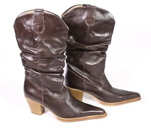 10S-Olympic-Damen-Western-Stiefel-Cowboy-Boots-Leder-braun-Gr-39-Lederfutter