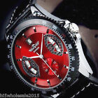 Analog Men Casual Black Leather Date Automatic Mechanical Sport Army Wrist Watch