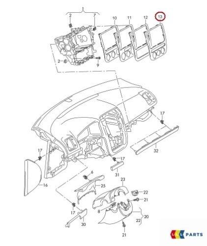 NUOVO Originale VW EOS 11-16 SCIROCCO 09-14 CENTRO CRUSCOTTO CLIMATRONIC pannello Trim
