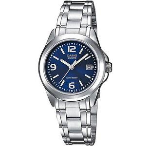 Casio-Uhr-LTP-1259PD-2A-Damen-Armbanduhr-Edelstahl-Silber-Blau-Datum-NEU-amp-OVP