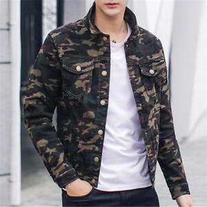 Details About 2018 Fashion Mens Boys Camouflage Slim Fit Jean Jacket Denim Coat Casual Jacket