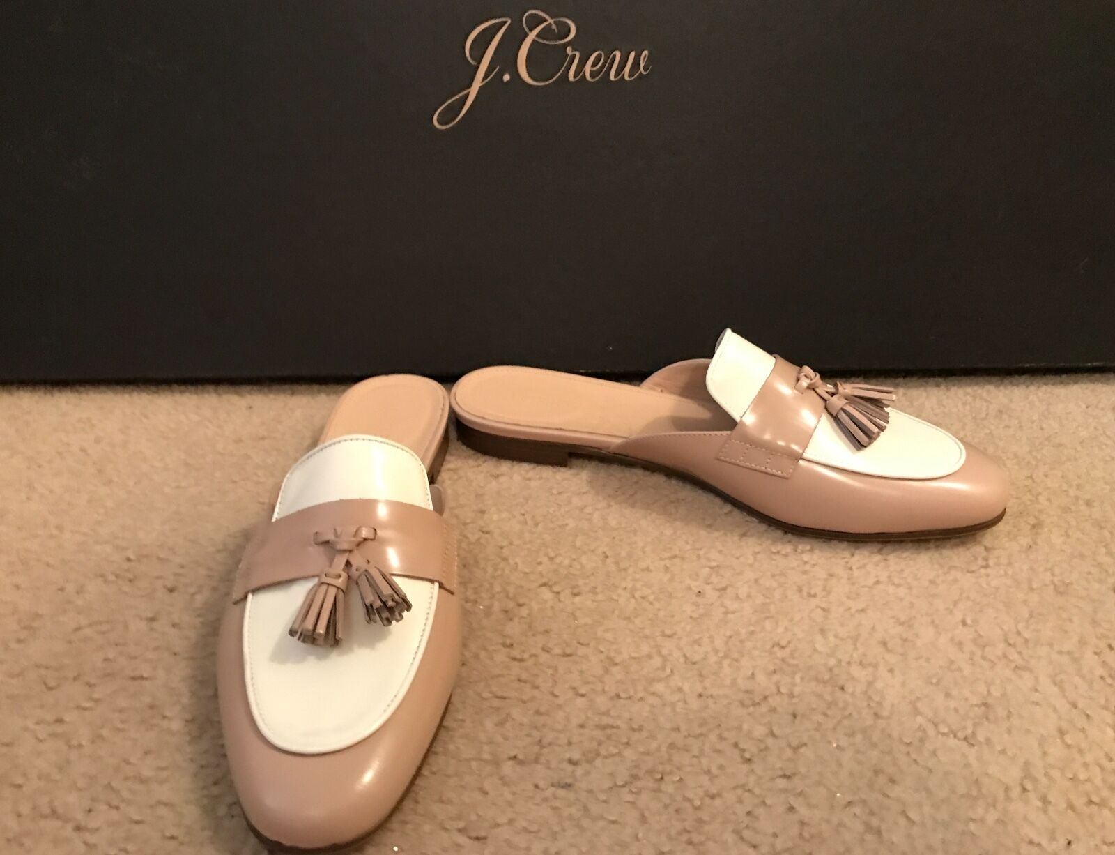 J.CREW CHARLIE MULES IN COLORBLOCK LEATHER SIZE 8M PAMPERED PINK G0947