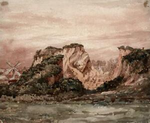 LANDSCAPE-AT-ST-SAMPSON-GUERNSEY-Watercolour-Painting-19TH-CENTURY