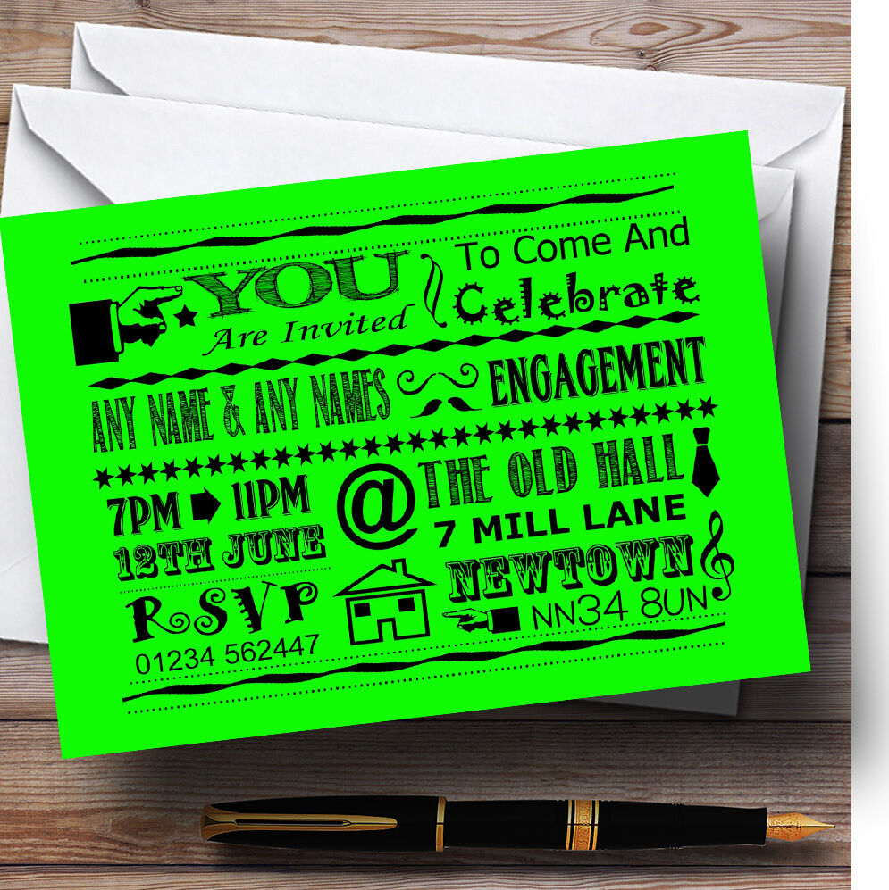 Cool Fun Chalk Typography Lime Grün Personalised Engagement Party Invitations