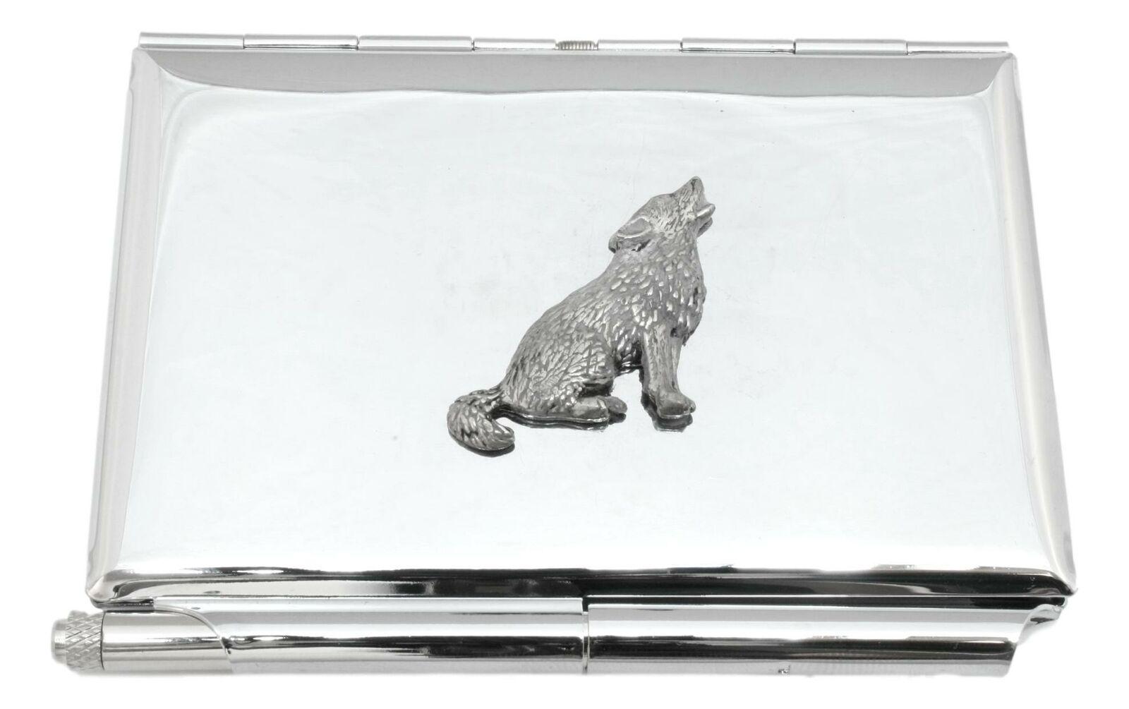 Wolf Howling Metal Notepad Memo Card Holder & Pen FREE ENGRAVING 399