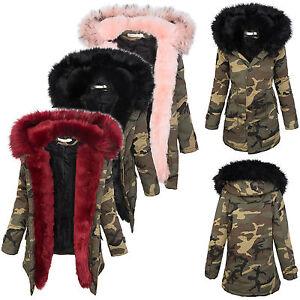 mujer-invierno-parka-chaqueta-ejercito-mire-Piel-Sintetica-Capucha-Calido-36-38