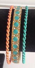 bracelet rigide lot de 3 couleur or émaillé couleur bleu orange  356