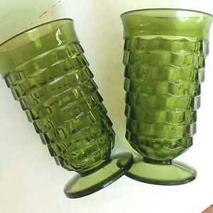 Indiana-Glass-Whitehall-Cube-Avocado-Green-Iced-Tea-Footed-Glasses-6-034-Set-of-2
