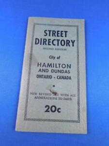 CITY OF HAMILTON AND DUNDAS ONTARIO STREET DIRECTORY VINTAGE SECOND EDITION