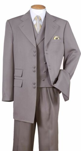 Men/'s Wool Feel 3 Pair Button Jacket with Double Button Fancy Collar Vest 2917
