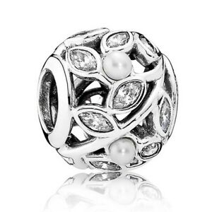 RETIRED-PANDORA-Luminous-Leaves-Pearl-Sterling-Silver-Charm-791754P-RRP-85