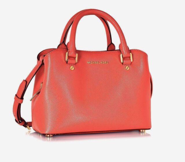 33895007cfa67 MICHAEL KORS TASCHE BAG SAVANNAH SM Satchel pink grapefruit Saffianoleder