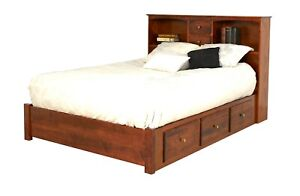 Details About Amish Bookcase Platform Bed Low Under Storage Drawers Solid Wood King Queen