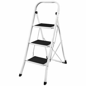 3 Step Ladder Anti Slip Mat Folding Iron Strong Safe Stool