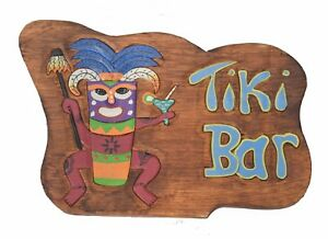 Détails sur Tiki Bar Panneau en Bois 40cm avec Feuertänzer Maui Hawaii  Aspect