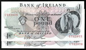 1967  Bank of Ireland Belfast £1 one pound banknotes grade A/UNC