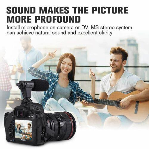 Micrófono 1X Cámara Portátil, pelo de conejo video entrevista micrófono directo W2E