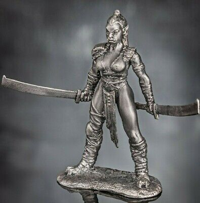 Copper figur Model 54mm Collection miniatur 1 32 scale Girl Orc TIN SOLDIER