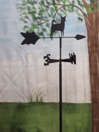 CHIHUAHUA GARDEN STYLE WEATHERVANE WROUGHT IRON LOOK MADE IN USA TLS1008IN